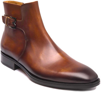 Bruno Magli Men's Angiolini M-Buckle Burnished Leather Ankle Boots