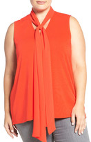 Vince Camuto Tie V-Neck Sleeveless Top (Plus Size)