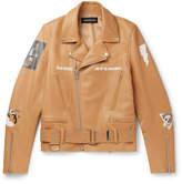 Undercover Slim-Fit Printed Leather Biker Jacket