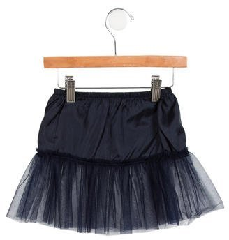 Il Gufo Girls' Tulle-Trimmed A-Line Skirt