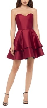 Blondie Nites Juniors' Sweetheart-Neck Double-Tier Dress