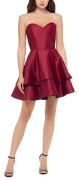 Blondie Nites Juniors' Sweetheart-Neck Double-Tier Dress