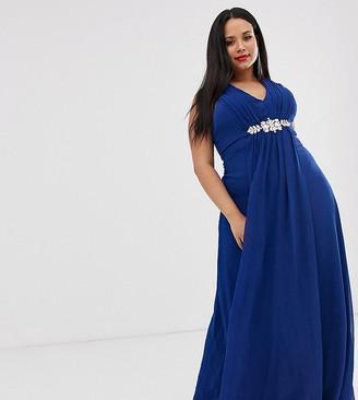 City Goddess Plus v neck embellished chiffon maxi dress