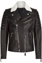 Philipp Plein Shearling Trimmed Leather Biker Jacket