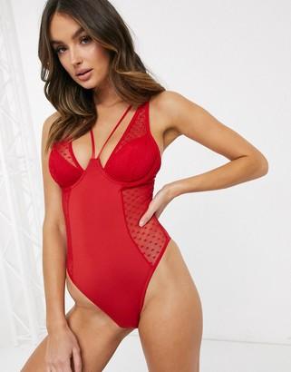 Peek & Beau valentina heart mesh body in red