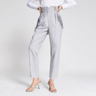 River Island Womens Grey tassel pocket high rise trousers