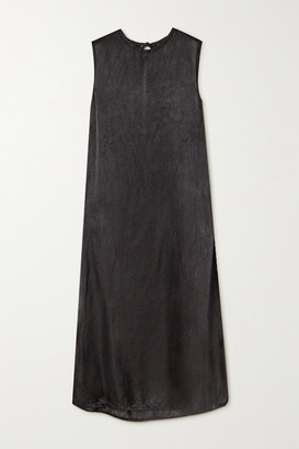 Ann Demeulemeester Tie-detailed Washed-satin Midi Dress - Black