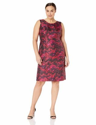 Kasper Women's Size Plus Sleeveless Jewel Neck Printed Sheath Dress