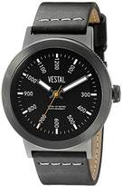Vestal Unisex SLR3L003 The Retrofocus Black Stainless Steel Watch with Leather Band