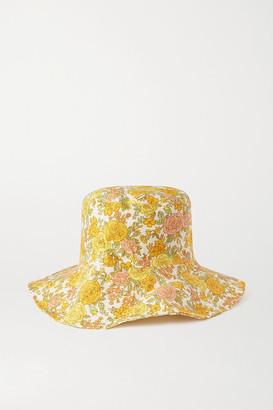 Faithfull The Brand Net Sustain Bettina Floral-print Linen Sunhat - Yellow
