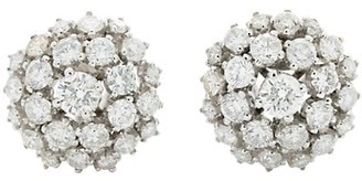 Stephanie Windsor Vintage 18K White Gold & Diamond Cluster Earrings