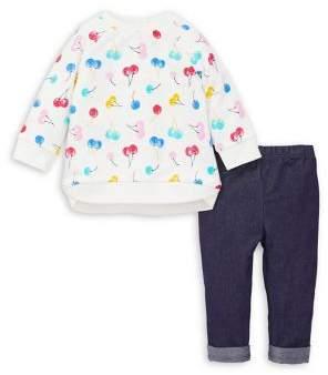 Little Me Baby Girl's 2-Piece Printed Cotton Sweatshirt & Denim Leggings Set