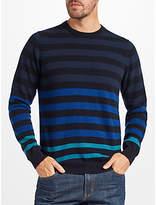 John Lewis Italian Cashmere Multi Stripe Jumper, Blue