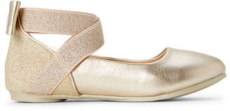 Kenneth Cole Reaction Toddler Girls) Gold Glitz Metallic Ankle Strap Flats