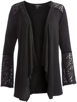 August Silk Black Lace-Yoke Bell-Sleeve Cardigan