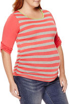 Asstd National Brand Planet Motherhood Maternity Striped Knit Top - Plus