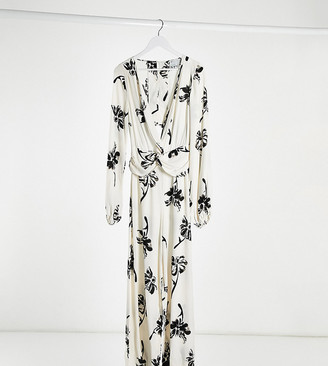 ASOS DESIGN Tall twist front wide leg jumpsuit in cream floral print