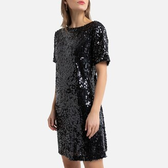 Sequined Shift Dress with Short Sleeves