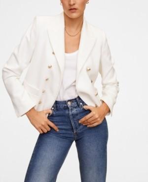 MANGO Women's Metallic Buttons Blazer