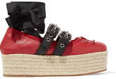 Miu Miu Lace-up Leather Platform Espadrilles - Red