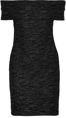 Halston Off-the-shoulder Metallic Boucle-knit Mini Dress