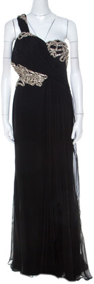 Marchesa Black Silk Embellished Bodice Evening Gown M