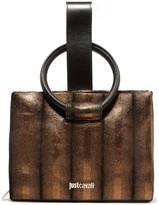 Just Cavalli Leather-trimmed metallic textured-suede clutch