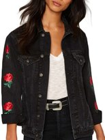 HaoDuoYi Womens Casual Flower Embroidery Long Sleeve Denim Jacket(L,)