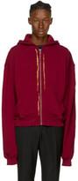 Haider Ackermann Red Embroidered Zip Hoodie