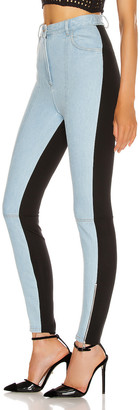 David Koma Half and Half Legging in Light Blue & Black | FWRD