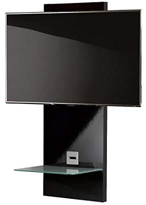 """VCM Scala-1"""" Wall Furniture with LED/LCD Wall Mount and Glass Shelve, Black Glass"""