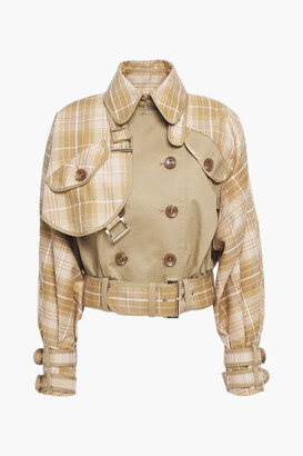Zimmermann Double-breasted Paneled Checked Cotton-blend Jacket