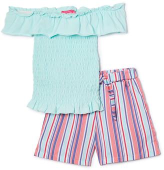 Girls Luv Pink Girls' Casual Shorts mint - Mint Smocked Ruffle-Sleeve Top & Pastel Stripe Shorts - Toddler & Girls