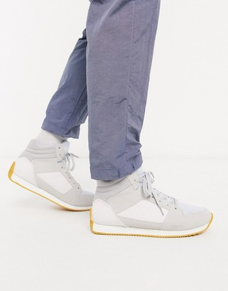 Asos DESIGN high top retro sneakers in gray