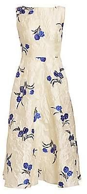 Lela Rose Women's Floral Fil Coupé Boatneck Dress
