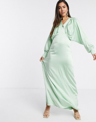 Y.A.S satin maxi dress with empire line and volume sleeve in mint