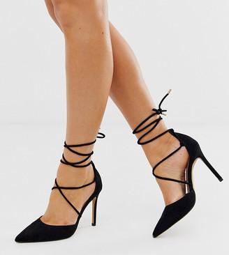 ASOS DESIGN Wide Fit Whisper tie leg high stiletto heels in black