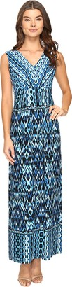 London Times Women's Ikat Chain V Neck Maxi Dress