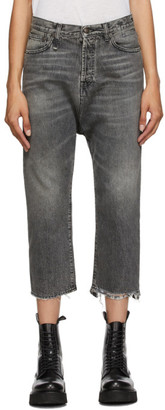 R 13 Black Tailored Drop Jeans