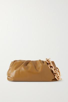 Bottega Veneta The Pouch Chain-embellished Gathered Leather Clutch - Mustard