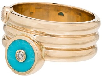 Retrouvaí 14kt Yellow Gold Turquoise Diamond Ring