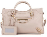 Balenciaga Metallic Edge City Mini Bag, Beige Praline