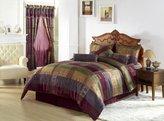 Chezmoi Collection Gitano Jacquard Patchwork 7-Piece Bedding Set, King, Multi Color