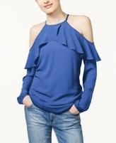 MICHAEL Michael Kors Petite Flounce Cold-Shoulder Top, A Macy's Exclusive Style