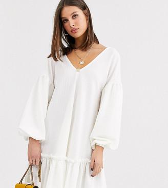 Asos Tall DESIGN Tall textured smock dress with frill hem-White