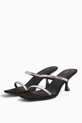 Topshop ROMY Black Diamante Mules