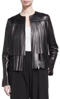 Michael Kors Fringed Leather Jacket, Black