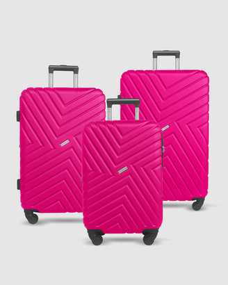 Jett Black Magenta Maze Series Luggage Set