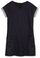 Karl Lagerfeld Cap-Sleeve Stretch Denim Shift Dress, Denim Blue, Size 6-10
