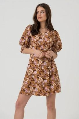 LIENA Cropped Sleeve Wrap Mini Dress in Mustard Floral